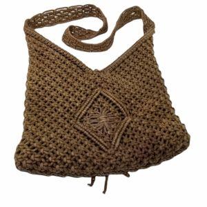 Bohemian Crochet Shoulder Hobo Bag Diamond Design